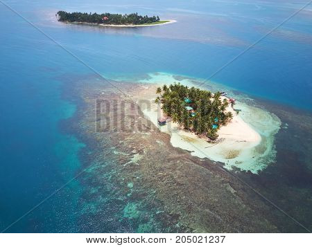 Two tropical islands aerial drone view on sunny day