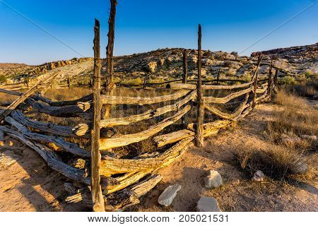 Old fence in the desert at Arches National Park