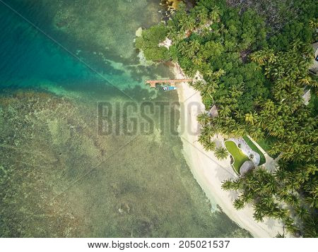 Vacation on tropical island concept aerial drone view