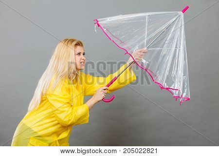 Woman Holding Opening Transparent Umbrella