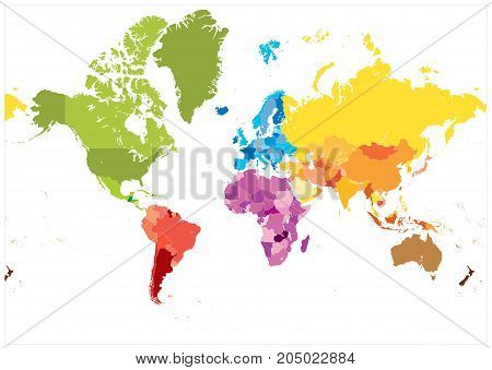 Detailed World Map Spot Colors. No Text