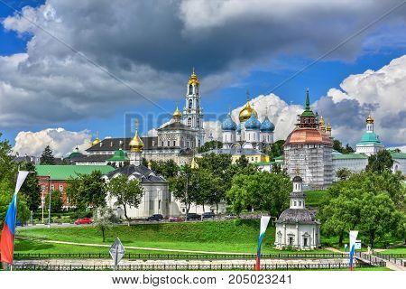 Sergiyev Posad monastery (Trinity Lavra of St. Sergius) - most important Russian monastery of the Russian Orthodox Church. Sergiyev Posad, Golden ring, Russia
