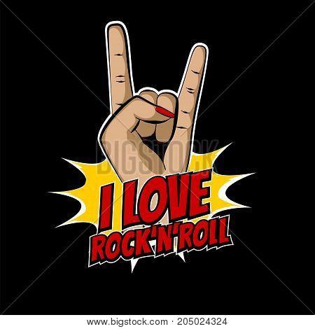 Girl metal hand wow rock pop art cartoon style. Comic book music text vector illustration. Party emblem invitation. Vintage handdrawn sketch design. Retro woman finger rocknroll.