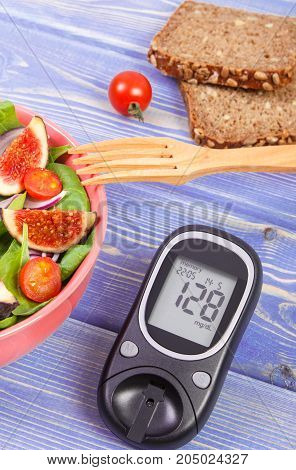 Fruit And Vegetable Salad And Glucose Meter For Checking Sugar Level, Healthy Nutrition