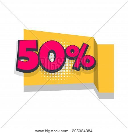 50 Vector sale banner. Pop art discount percentage illustration. Origami paper comic text funny numbers.Advertising halftone business promo template. Commerce sticker badge. Season retail concept.