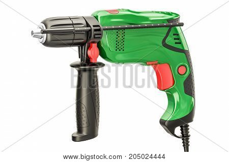 Green electric drill 3D rendering isolated on white background