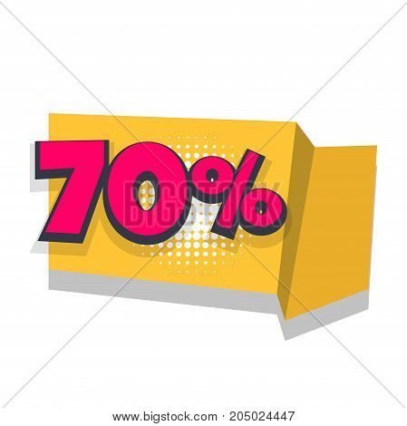 70 Vector sale banner. Pop art discount percentage illustration. Origami paper comic text funny numbers.Advertising halftone business promo template. Commerce sticker badge. Season retail concept.