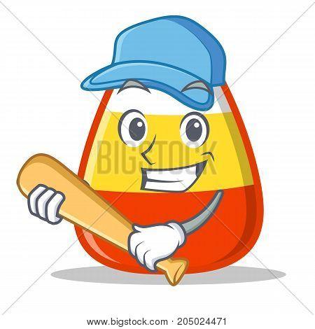 Playing baseball candy corn character cartoon vector illustration