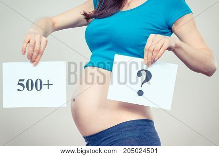 Woman In Pregnant Holding Card With Inscription 500+ And Question Mark, Social Program And Policy In