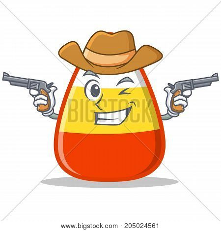 Cowboy candy corn character cartoon vector illustration