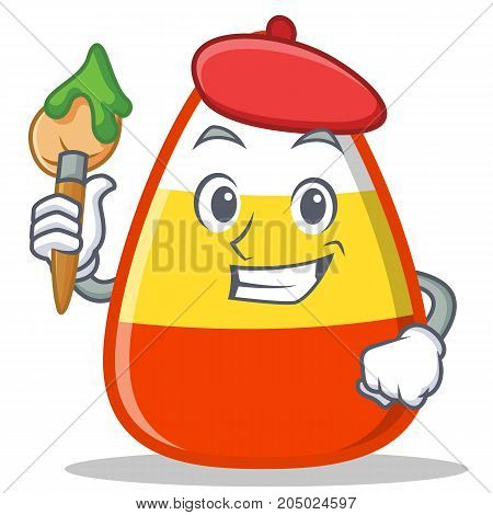 Artist candy corn character cartoon vector illustration