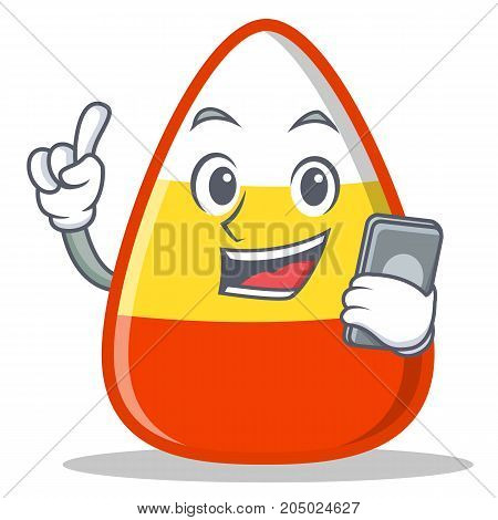 With phone candy corn character cartoon vector illustration