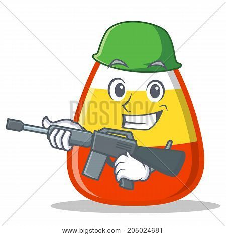 Army candy corn character cartoon vector illustration