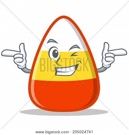 Wink candy corn character cartoon vector illustration
