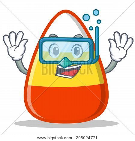 Diving candy corn character cartoon vector illustration
