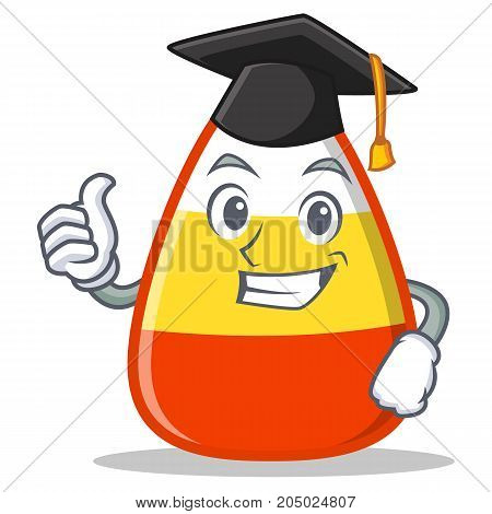Graduation candy corn character cartoon vector illustration