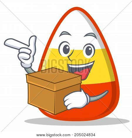 With box candy corn character cartoon vector illustration