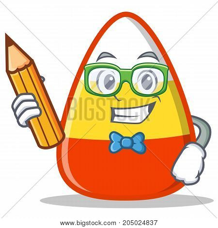 Student with pencil candy corn character cartoon vector illustration