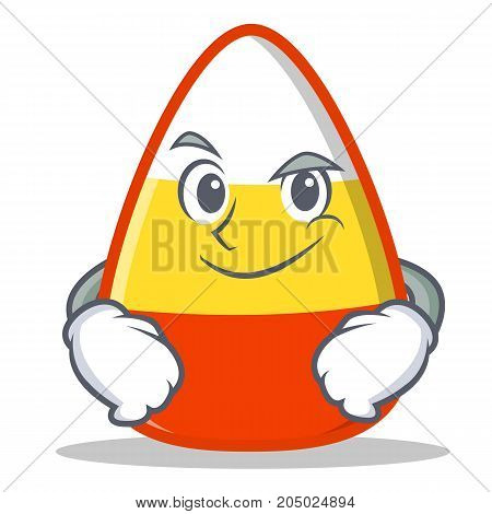 Smirking candy corn character cartoon vector illustration