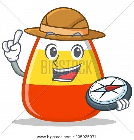Explorer candy corn character cartoon vector illustration