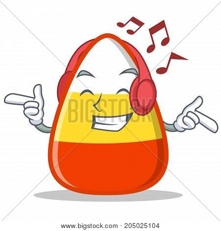 Listening music candy corn character cartoon vector illustration
