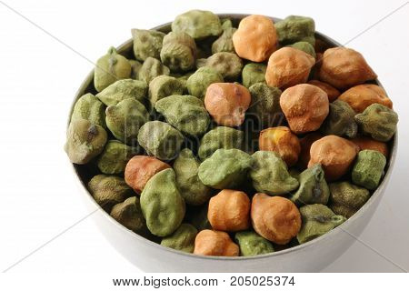 A mixture of black and green chickpeas or chana