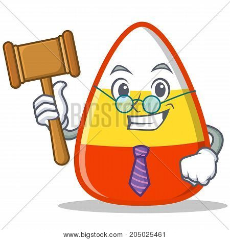 Judge candy corn character cartoon vector illustration