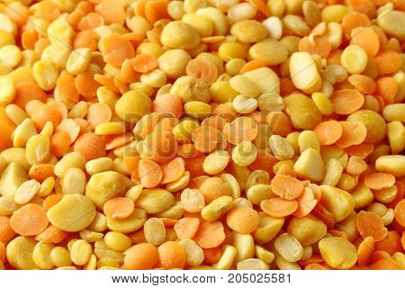 Close up of Mixed red and yellow lentils