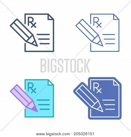 Document with pen and prescription symbol. Rx document and pencil vector outline icon set. Pharmacy and medicine concept line pictograms. Thin contour infographic for web design, presentation, network