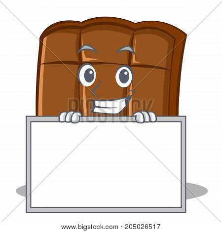 Grinning with board chocolate character cartoon style vector illustration