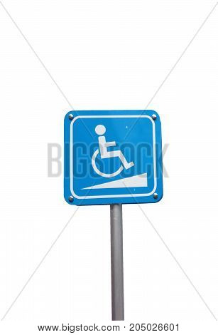 Disabled parking space and wheelchair way sign and symbols on a pole on white background
