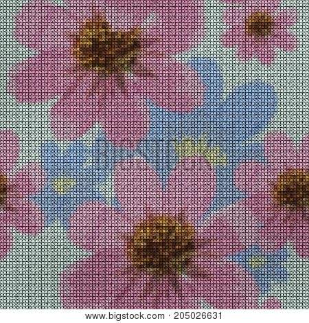 Illustration. Cross-stitch. Cosmos. Texture of flowers. Seamless pattern for continuous replicate. Floral background collage.