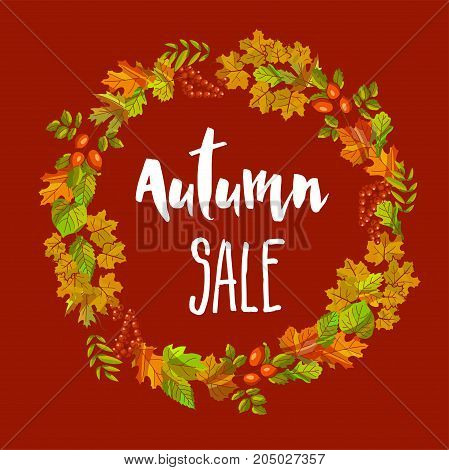 Autumn sale poster of fall leaves wreath for discount promo shopping or seasonal shop offer. Maple, oak acorn or rowanberry and chestnut leaf foliage, birch leaf and rowan and oak acorn vector design