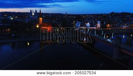 aerial view of old town at night