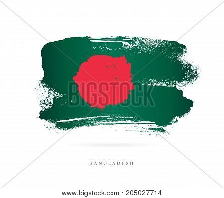 Flag of Bangladesh. Vector illustration on white background. Beautiful brush strokes. Abstract concept. Elements for design.