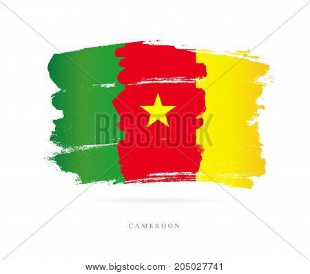 Flag of Cameroon. Vector illustration on white background. Beautiful brush strokes. Abstract concept. Elements for design.