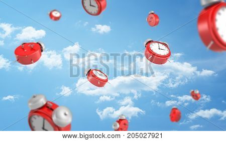3d rendering of a many red retro-looking alarm clocks with metal bells fall down on cloudy sky background. All time in life. Schedule and planning. Important things to do.