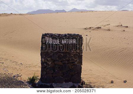 Parque natural inscription stone. Natural reservation, Spain