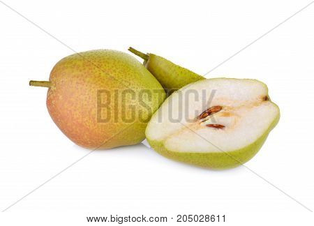 whole and cut fresh red fragrant pear on white background