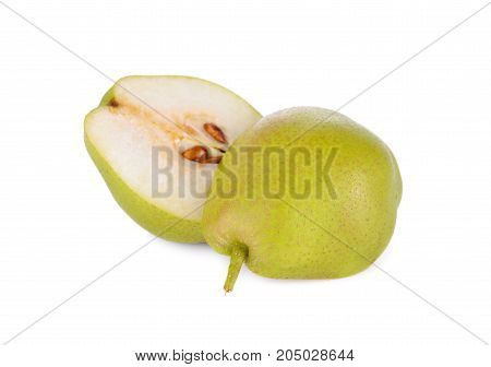 half cut fresh red fragrant pear on white background