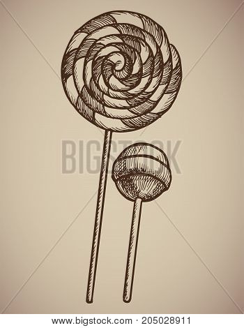 Engraving Lollipops. Engraving two candies. A huge spiral lollipop and a round candy on a stick. Engraving menu for the restaurant. Vector illustration. EPS 10.