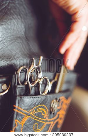 Hair Styling and Cutting Tool belt closeup picture