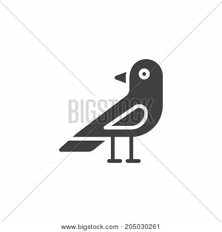 Raven bird icon vector, filled flat sign, solid pictogram isolated on white. Halloween holiday Symbol, logo illustration.