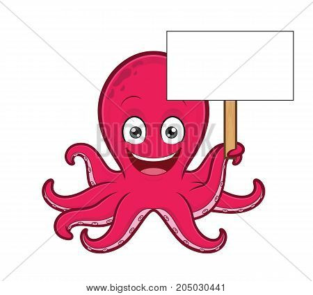Clipart picture of an octopus cartoon character holding blank sign