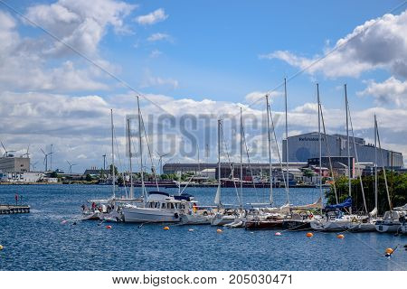 COPENHAGEN, DENMARK - JULY 20: Harbor at the end of Langelinie in Copenhagen, Denmark
