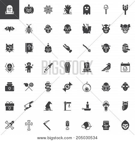 Halloween vector icons set, modern solid symbol collection, filled pictogram pack. Signs, logo illustration. Set includes icons as witch, dracula, zombie, mummy, devil, voodoo doll pumpkin