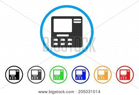ATM Device rounded icon. Style is a flat ATM device grey symbol inside light blue circle with black, gray, green, blue, red, orange versions. Vector designed for web and software interfaces.