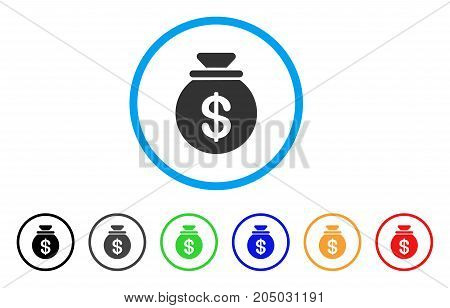Cash Harvest Sack rounded icon. Style is a flat cash harvest sack grey symbol inside light blue circle with black, gray, green, blue, red, orange versions.