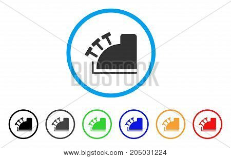 Cash Register rounded icon. Style is a flat cash register gray symbol inside light blue circle with black, gray, green, blue, red, orange color versions.
