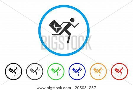 Courier rounded icon. Style is a flat courier grey symbol inside light blue circle with black, gray, green, blue, red, orange color versions. Vector designed for web and software interfaces.